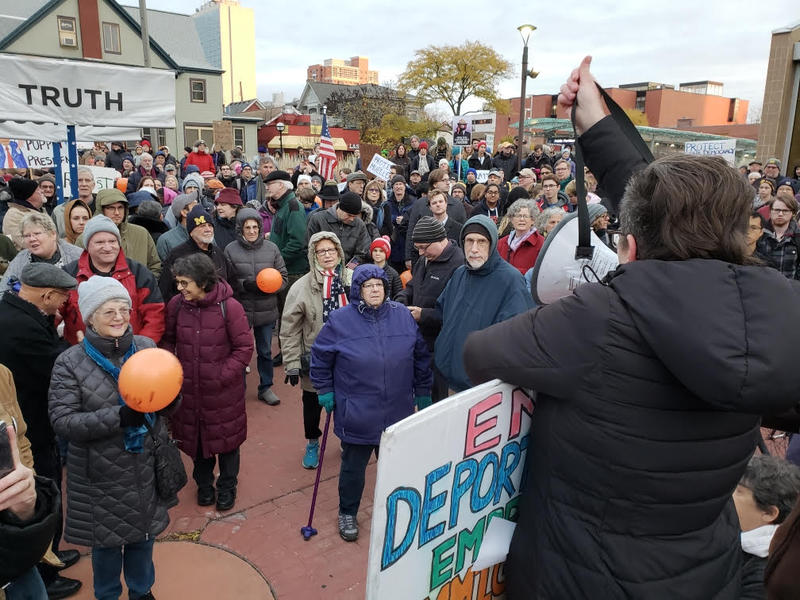 Protest held outside of Federal Building in Ann Arbor.