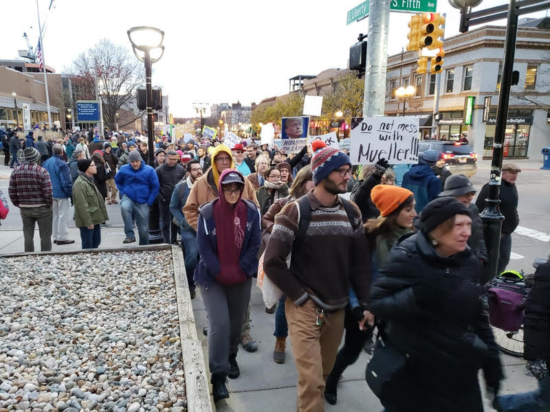 Participants march toward the University of Michigan.