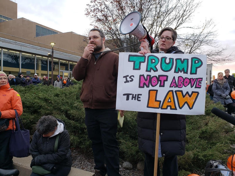 Jessica Prozinski on the right helped organize the protest.