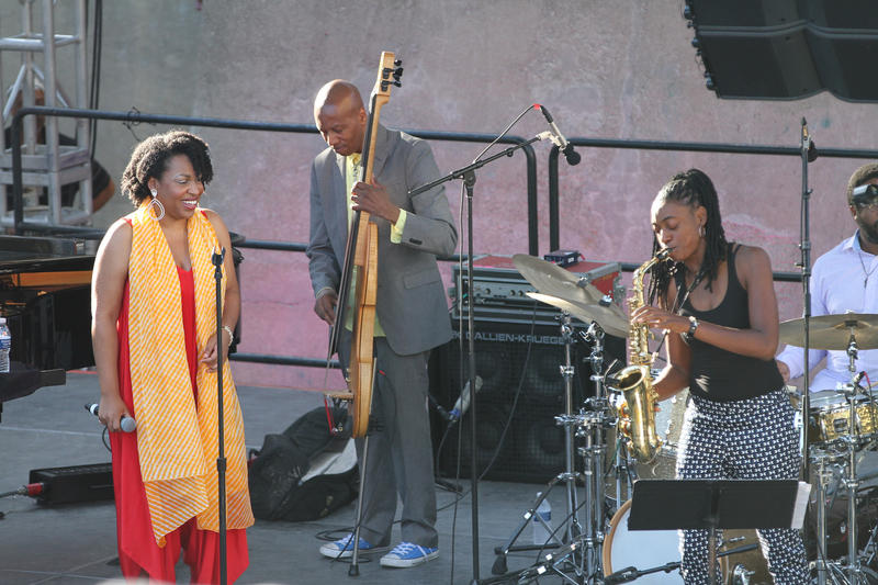 Vocalist Charenee Wade performs on the Pyramind Stage