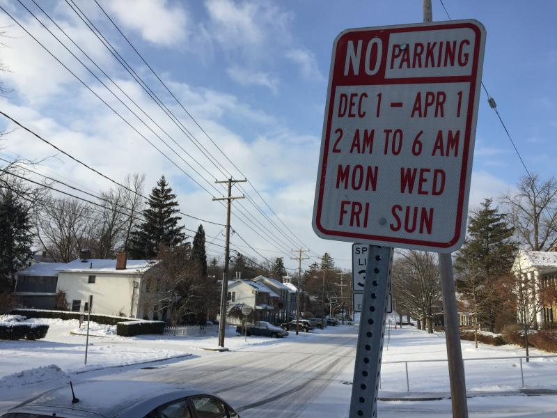 A City of Geneva winter parking restrictions sign