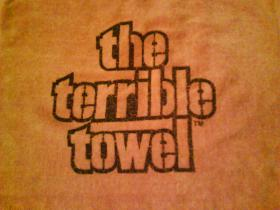 An original commercially marketed Terrible Towel, sold exclusively by Gimbel's Department Store, circa 1978. The Terrible Towel is a fan symbol associated with the Pittsburgh Steelers, soon the towels will be printed right here in Pittsburgh.