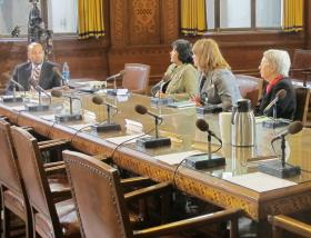 (R-L) Barbara Goldstein, Maggie Connor and Noor Ismail update Councilman Daniel Lavelle on the ARTPGH and DESIGHPGH efforts at a recent city council post agenda meeting.