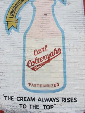 A mural on the side of Carrick's historic Colteryahn Dairy