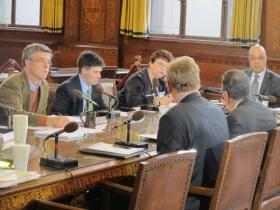 Pittsburgh Council Members listen as Ravenstahl administration officials brief them on the city's switch to a new electronic financial system.