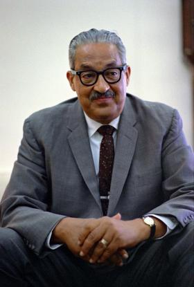 Thurgood Marshall photographed in 1967 in the Oval Office