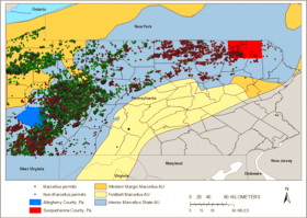 Locations of gas well leases for Marcellus Shale and non-Marcellus uses in Pennsylvania.