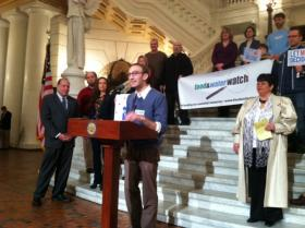 Sam Bernhardt, a Pennsylvania organizer for Food & Water Watch speaks at a capitol rally for new GMO labeling legislation.