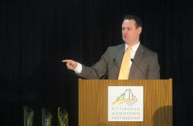 Speaking Tuesday, Pittsburgh mayor Luke Ravenstahl said he's pleased with several new developments in downtown Pittsburgh.