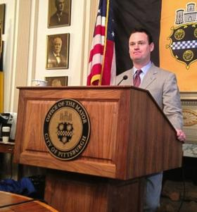 Pittsburgh Mayor Luke Ravenstahl meets with reporters Friday morning as he announces he will not run for reelection.