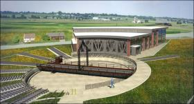 Concept art for the final look of Strasburg's new roundhouse.