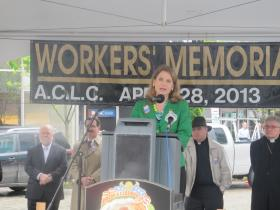 AFL-CIO Secretary-Treasurer Liz Schuler speaks at the Workers' Memorial Day event in Market Square on Monday.