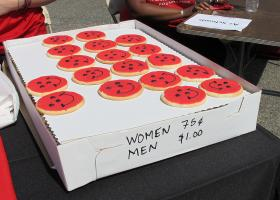 The Equal Payday rally included a bake sale at which the items were priced higher for men to symbolize the wage gap.