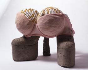 HQ10-SL5940S Stars at glance. Sarah Lucas, Stars at a glance, 2007. Concrete shoes, bra, footballs, and cigarettes