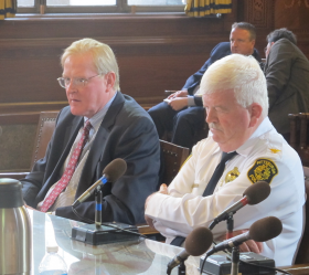 Pittsburgh Finance Director Scott Kunka (left) and Deputy Police Chief Paul Donaldson (right) answer City Council's questions on reforms to an administrative fee for off-duty police details.