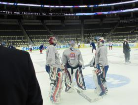 Players from the University of Massachusetts Lowell practice Wednesday at the CONSOL Energy Center.