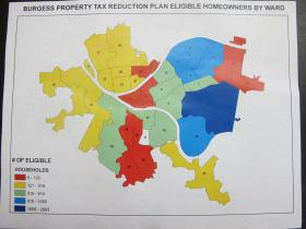 A map of the concentrations of roughly 20,000 homeowners who would be eligible for a 2015 property tax relief program. Red and yellow areas are the least dense. Blue areas are the most dense.