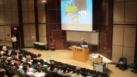 World affairs Council President Steve Sokol opens the multi-site video conference Wednesday at Duquesne University.