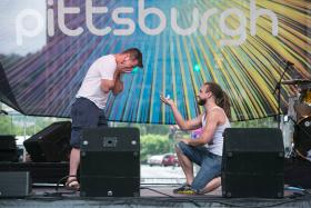 Matt Bartko and his new fiance Maddy Landi at the Pittsburgh Pride Festival