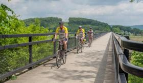 A group of cyclists on the GAP trail