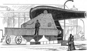 An artist rendering of the 20-inch Rodman gun at the 1876 Centennial Exposition in Philadelphia