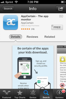 App Certain is an app which monitors other apps