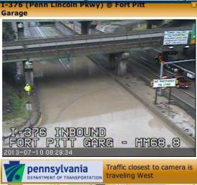 Flooding is seen at I-376 Inbound at the Fort Pitt Garage this morning.