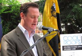 """Mayor Luke Ravenstahl speaks during an energy efficiency event in Mt. Washington in June. """"Every day I've been in town, haven't taken any vacation or gone out of town and continue to work and continue to do what is necessary to move the city forward,"""" Ravenstahl told reporters."""