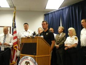 Mayor Luke Ravenstahl speaks during a media conference Wednesday about the morning's flash flooding.