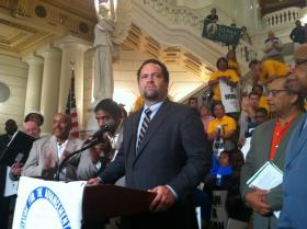 NAACP President Ben Jealous speaks in opposition of Pennsylvania's voter ID law at the Capitol rotunda Thursday.