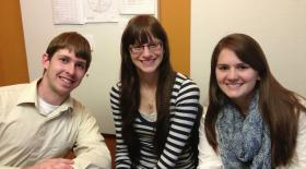 Robert Morris University sophomores Mark Polcha, Marulla Quirk, and Annie Kandray (left to right) are all proud members of RMU's Honors Book Club