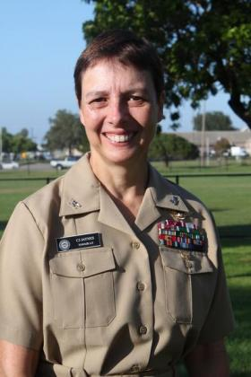 Navy Rear Admiral C.J. Jaynes discussed the challenges and satisfaction she finds in her high ranking naval position.