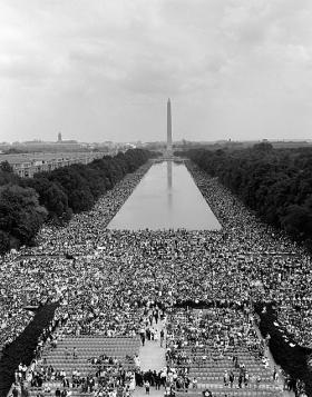 Thousands gathering peacefully at the reflecting pool in Washington DC