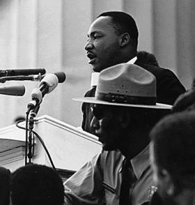 Rev. Dr. Martin Luther King delivering his famous speech.