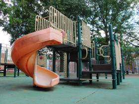 Playground equipment at Armstrong Field in Pittsburgh's South Side. There is a growing movement across the country to build playgrounds that are designed to include children with disabilities.