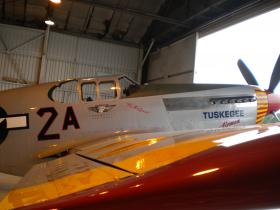 A fighter plane, that was used by the Tuskegee Airmen during their efforts in World War II. Wendell Freeland was a bombardier for the Airmen.