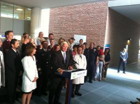 Gov. Tom Corbett addresses the media at PinnacleHealth Harrisburg Hospital on Monday.