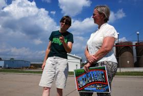 Lynn Anderson, left, and Susie Beiersdorfer oppose fracking in Youngstown, Ohio
