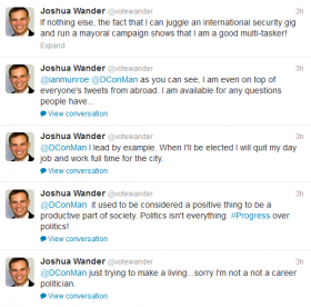 On Wednesday, Republican mayoral candidate Josh Wander defends his absence from Pittsburgh on Twitter.