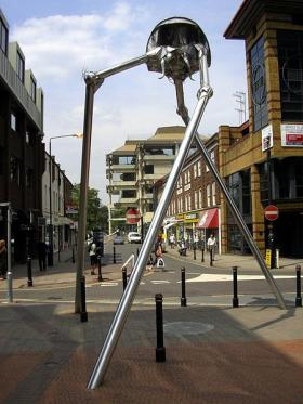 This sculpture by Michael Condron in Surrey, England was inspired by The War of the Worlds