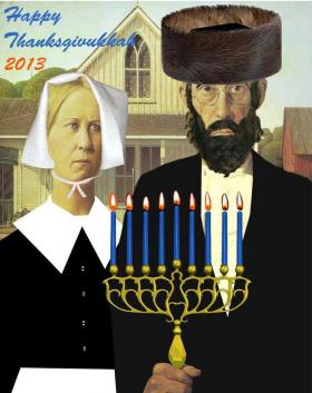 American Gothikkah is just one of the images used to popularize the once in a lifetime holiday, Thanksgivukkah.