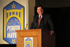 Former Pittsburgh city councilman Bill Peduto wins the mayoral election.