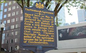 The Pittsburgh Agreement historic marker sits at the corner of Penn Avenue and Seventh Street in the Pittsburgh Cultural District