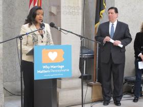 Campaign Manager Melissa Morris and Mayor-elect Bill Peduto speak at the launch