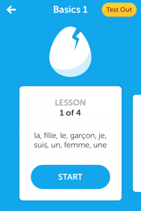 A screenshot from the app of the year, Duolingo. One of the app's many French lessons.