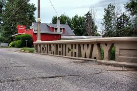 "One of the original concrete bridges on the ""Lincoln Highway"" in Tama, IA"