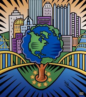 "Burton Morris's painting ""One Young World"" will hang in Mayor-elect Bill Peduto's office."