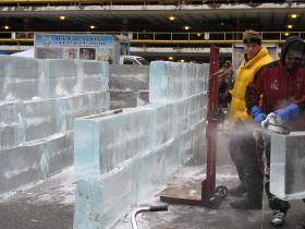 Ice Creations' Rich Bubin works on 90,000-pound ice labyrinth.