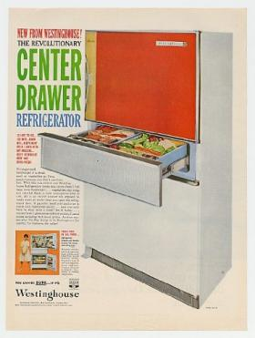 1960 Westinghouse Center Drawer Refrigerator Print Ad