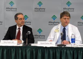 Dr. Tony Farah and Dr. David Parda announce that Allegheny Health Network has signed a memorandum of understanding with Johns Hopkins Kimmel Cancer Center.